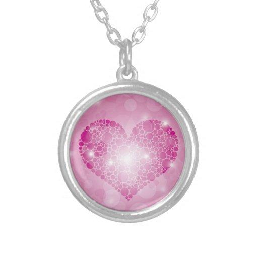 Colgante rosado del amor del corazón de los lunare
