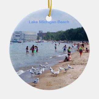 Colgante u ornamento de la playa del lago Michigan Adorno Navideño Redondo De Cerámica