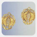 Colgantes chinos, oro de 17 quilates plateado pegatinas cuadradases