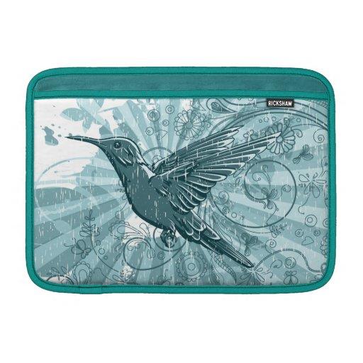Colibrí azul del Grunge Fundas MacBook