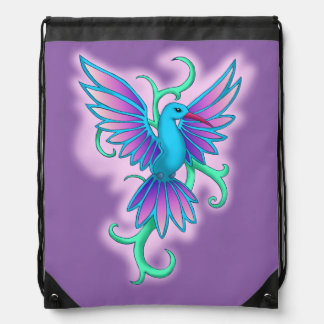 Colibrí azul rosa mochila