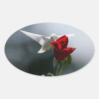Colibrí blanco pegatina ovalada