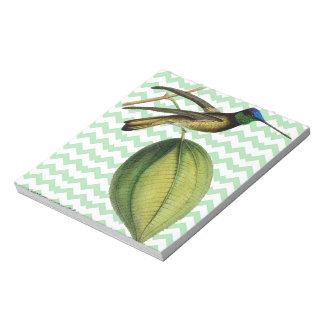 Colibrí botánico y chevron verde suave bloc