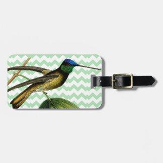 Colibrí botánico y chevron verde suave etiquetas para equipaje