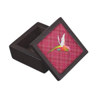 Colibrí colorido con la tela escocesa rosada viva cajas de regalo de calidad