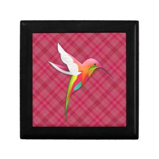 Colibrí colorido con la tela escocesa rosada viva cajas de joyas