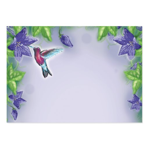 colibrí colorido elegante y flores púrpuras tarjetas de visita grandes