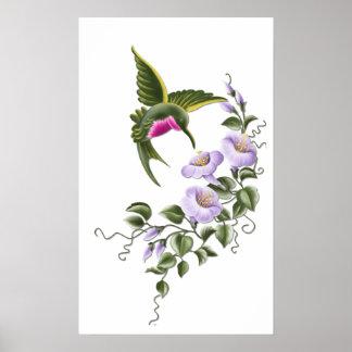 Colibrí con las flores 1 impresión póster