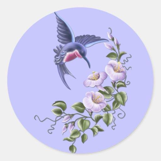 Colibrí con las flores 2 pegatinas pegatina redonda