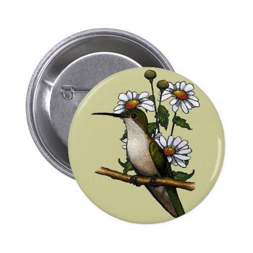 Colibrí con las margaritas: Ilustraciones: Natural Pin Redondo 5 Cm