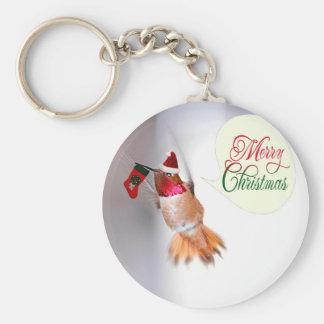 Colibrí de las Felices Navidad con la media de Llavero Personalizado