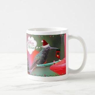 Colibrí de las Felices Navidad Taza De Café