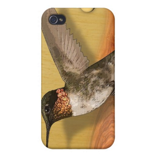 colibrí de madera iPhone 4/4S funda