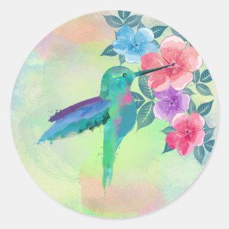 Colibrí de moda lindo fresco de los watercolours etiqueta redonda