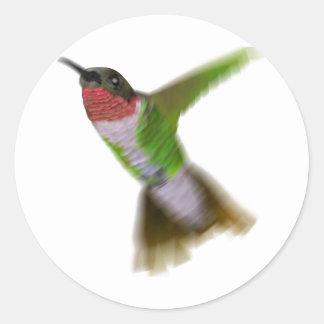 Colibrí del vuelo pegatina redonda