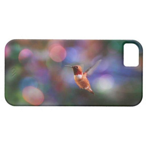 Colibrí del vuelo y fondo colorido iPhone 5 Case-Mate cárcasa