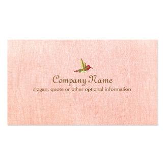 Colibrí en falsa tarjeta de visita de lino rosada