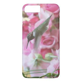 Colibrí en flores rosadas de la primavera funda iPhone 7 plus