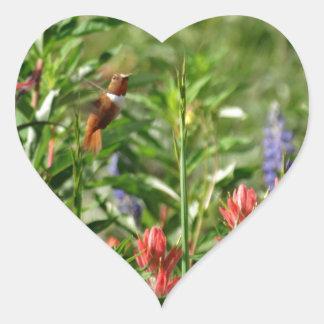 Colibrí en flores salvajes pegatina en forma de corazón