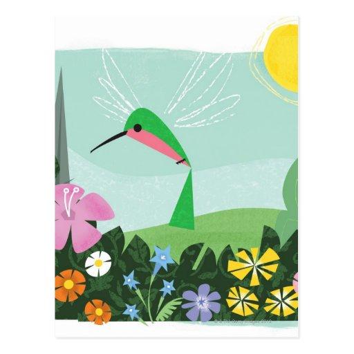 Colibrí entre las flores tarjetas postales