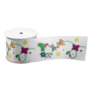 Colibrí, flores y estrellas 3 pulgadas lazo de raso