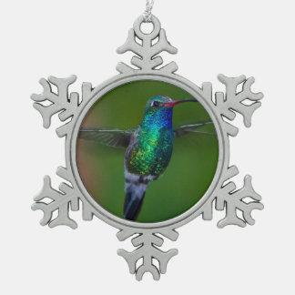 Colibrí flotante adorno de peltre en forma de copo de nieve
