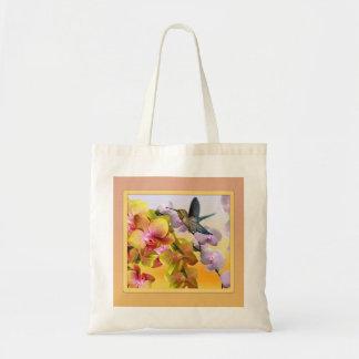 Colibrí, lilas púrpuras, orquídeas rosadas bolsa tela barata