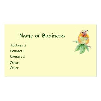 Colibrí, pájaro, naturaleza, fauna, tarjeta de vis tarjeta de visita