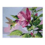 colibrí pintado a mano tarjeta postal