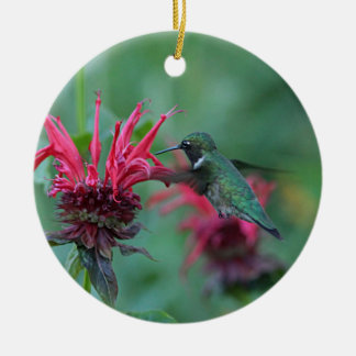 Colibrí que alimenta en las flores rosadas adorno navideño redondo de cerámica