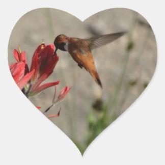 Colibrí rojo del wildflower pegatina en forma de corazón