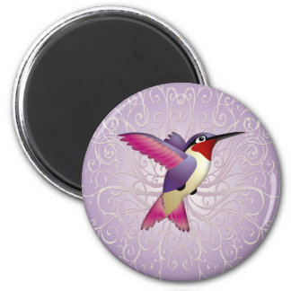 Colibrí rosado imán redondo 5 cm