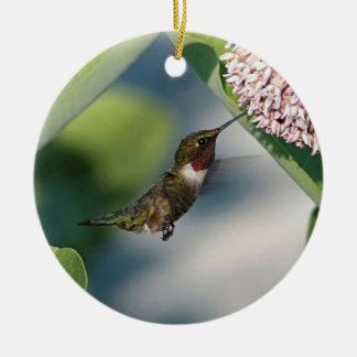 colibrí Rubí-throated Adorno Navideño Redondo De Cerámica