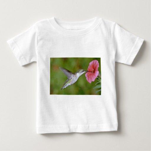 colibrí Rubí-throated (femenino) con la petunia pi Playera