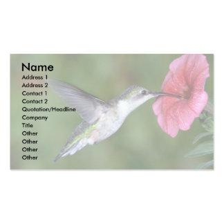 colibrí Rubí-throated (femenino) con la petunia Plantilla De Tarjeta De Negocio