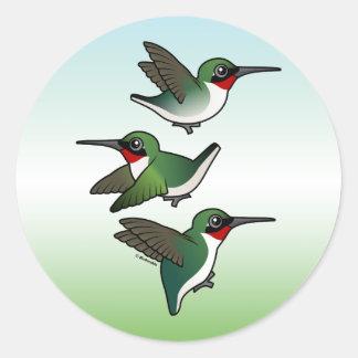 Colibrí Rubí-throated que vuela Pegatina Redonda