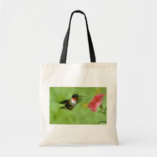 colibrí Rubí-throated (varón) con la petunia Bolsa Tela Barata