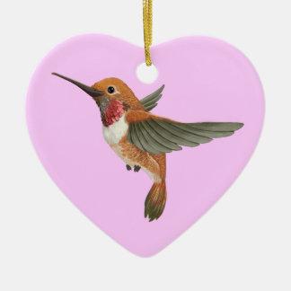 Colibrí rufo adorno navideño de cerámica en forma de corazón
