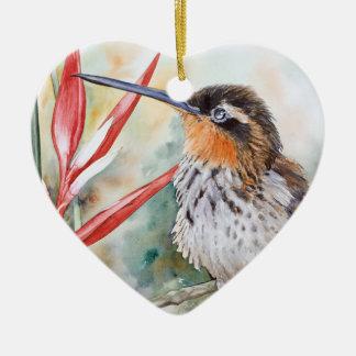 colibrí Sierra-cargado en cuenta del ermitaño Adorno De Cerámica En Forma De Corazón