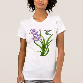 Colibrí Throated de rubíes en la camisa del iris