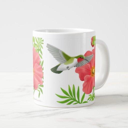 Colibrí Throated de rubíes en la taza de la flor d Tazas Extra Grande