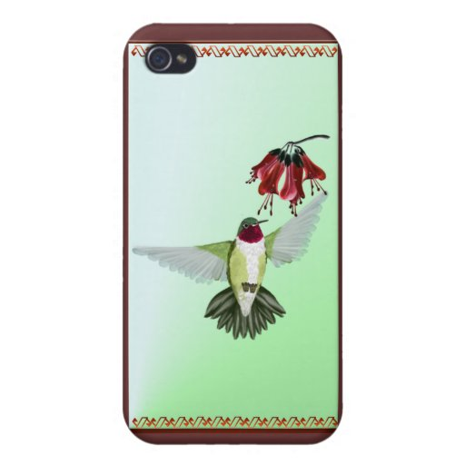 Colibrí Throated rojo 441__P iPhone 4 Protector