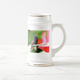 Colibrí tropical en el alimentador tazas de café