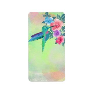 Colibrí vibrante lindo fresco de los watercolours etiqueta de dirección