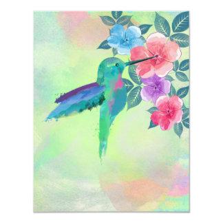 Colibrí vibrante lindo fresco de los watercolours invitacion personal