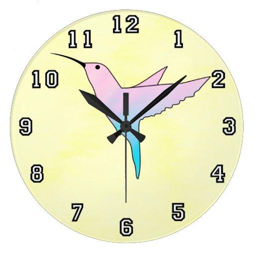 Colibrí y corazones azules y amarillos reloj redondo grande