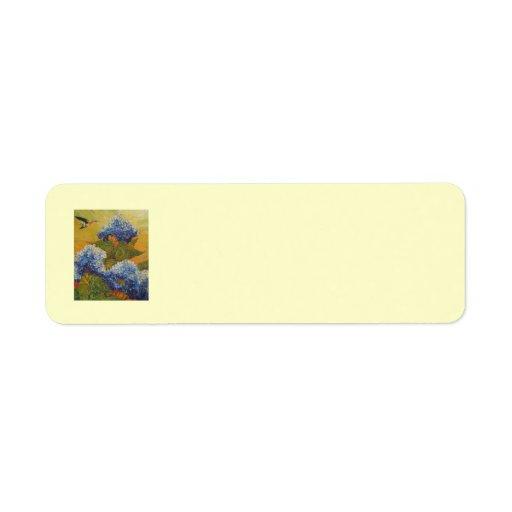 Colibrí y etiqueta azul del remite del Hydrangea Etiquetas De Remite