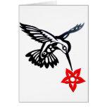 Colibrí y flor tarjeta