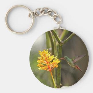 Colibrí y flor tropicales llaveros personalizados