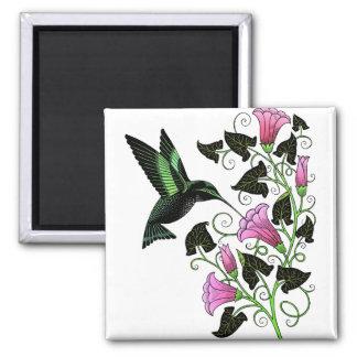 Colibrí y flores bonitos imán cuadrado